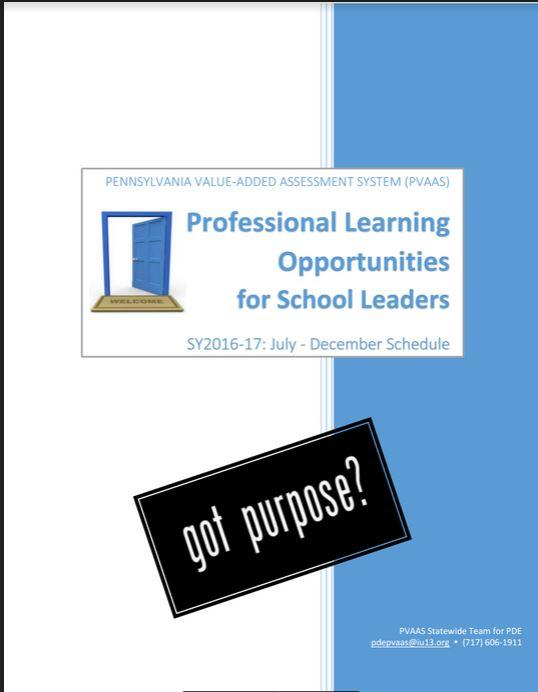 Cover of the PVAAS professional development catalog