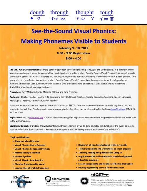 See the Sound Visual Phonics workshop flyer
